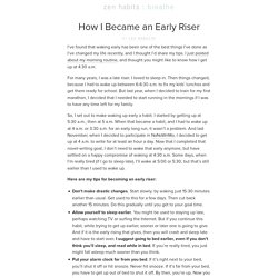 How to become an early riser
