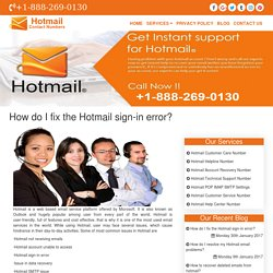 How do I fix the Hotmail sign-in error?