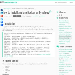 How to install and use Docker on Synology