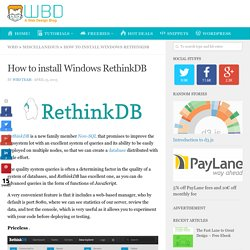 How to install Windows RethinkDB - WBD