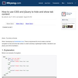 How to use CSS and jQuery to hide and show tab content
