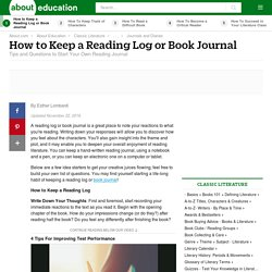 How to Keep a Reading Log or Book Journal