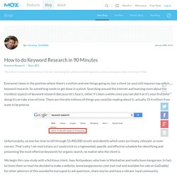 How to do Keyword Research in 90 Minutes