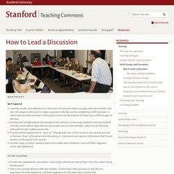 How to Lead a Discussion