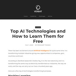 How to Learn Top AI Technologies for Free