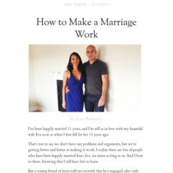 How to Make a Marriage Work