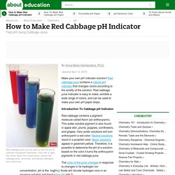 Red Cabbage pH Indicator - How to Make Red Cabbage pH Indicator