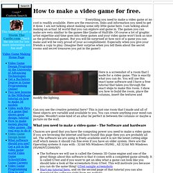 How to Make a Video Game for free.