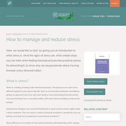 How to manage and reduce stress