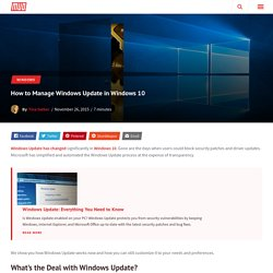 How to Manage Windows Update in Windows 10