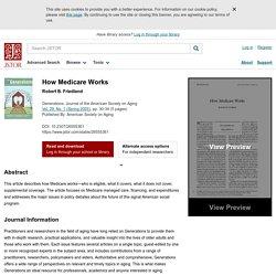 How Medicare Works on JSTOR