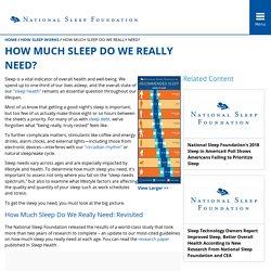 How Much Sleep Do We Really Need? - National Sleep Foundation
