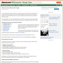 How to Narrow a Research Topic