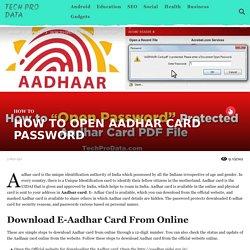 HOW TO OPEN AADHAR CARD PASSWORD