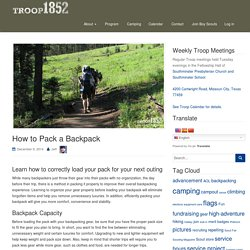 How to Pack a Backpack - BSA: Troop 1852