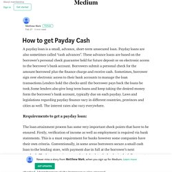 How to get Payday Cash