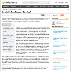 How to Perform Pressure Canning ?