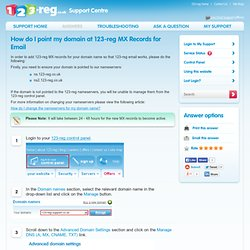 How to point your domain at 123-reg MX records