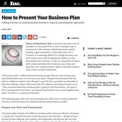How to Present Your Business Plan