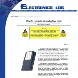 How to rebuild a Li-Ion battery pack