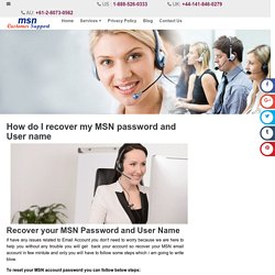 How do I recover my MSN password and User name