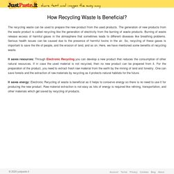 How Recycling Waste Is Beneficial?