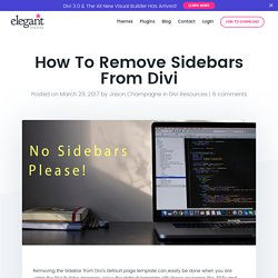 How To Remove Sidebars From Divi