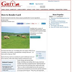 How to Render Lard - Animals