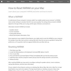 How to Reset NVRAM on your Mac - Apple Support