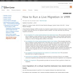 How to Run a Live Migration in VMM
