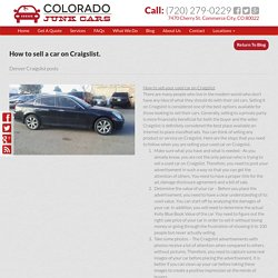 How to sell a car on Craigslist.