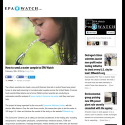 How to send a water sample to EPA Watch