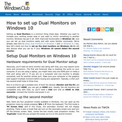 How to set up Dual Monitors on Windows 10