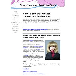 How to Sew Fashion Doll Clothes