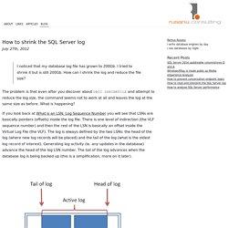 How to shrink the SQL Server log