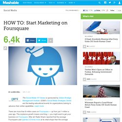 Start Marketing on Foursquare