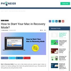 How to Start Your Mac in Recovery Mode