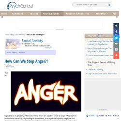 How Can We Stop Anger?!