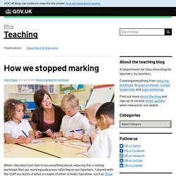 How we stopped marking - Teaching
