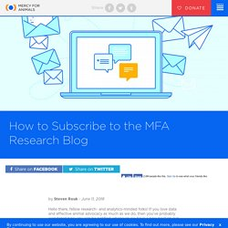 How to Subscribe to the MFA Research Blog