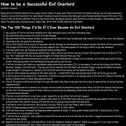 How To Be A Successful Evil Overlord
