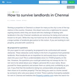 How to survive landlords in Chennai