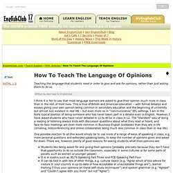 How To Teach The Language Of Opinions