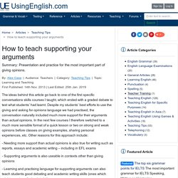 How to teach supporting your arguments