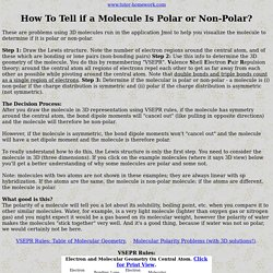 How to Tell if a Molecule is Polar or Non-Polar; VSEPR