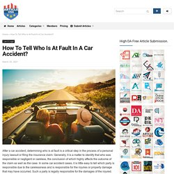 How To Tell Who Is At Fault In A Car Accident?