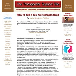 How To Tell If You Are Transgendered