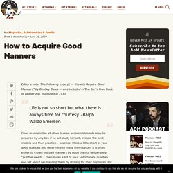 How to Acquire Good Manners