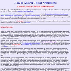 How to Answer Theist Arguments