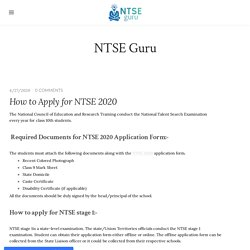 How to Apply for NTSE 2020